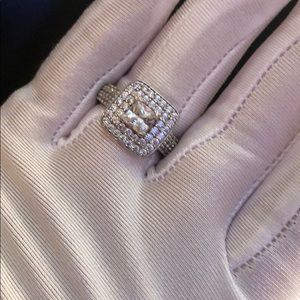 Sterling silver ring Dainty Square Crystal 7